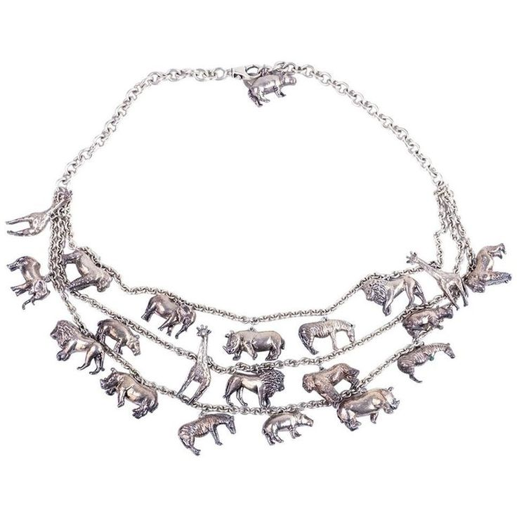 Sterling Multi-Strand Necklace with Animal Charms with matching earrings   From a unique collection of vintage multi-strand-necklaces at https://www.1stdibs.com/jewelry/necklaces/multi-strand-necklaces/