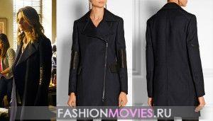 В 20 серии  «Спящий» (Sleeper) 7 сезона сериала «Касл» детектив Кейт Беккет (Стана Катик) носит черное габардиновое пальто с кожаными вставками на рукавах от Belstaff за  1315 € (распродано).