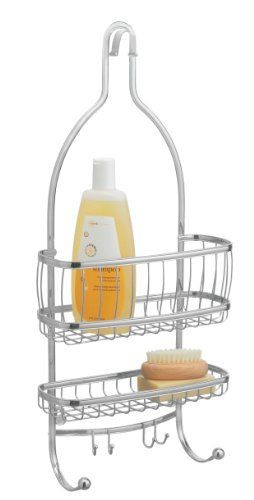 InterDesign York Lyra Shower Caddy, Chrome by InterDesign. $21.22. Suction cups help keep caddy in place. 2 shelves for all your shower needs. Contemporary design. 2 hooks for wash cloths, loofahs and so much more. Polished chrome finish. Organize your soap, shampoo and conditioner in style. Both attractive and functional this contemporary shower caddy is made of steel tubing that is rust-resistant, durable and finished off in a bright chrome finish. The wire loop design and...
