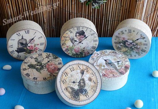 Vintage κουτάκια με ρολόγια - μπομπονιέρες γάμου ή βάπτισης