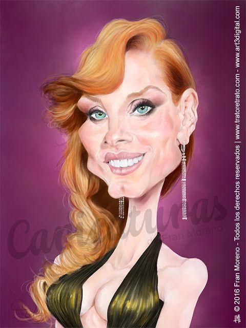 Caricatura de la actriz Jessica Chastain por Fran Moreno