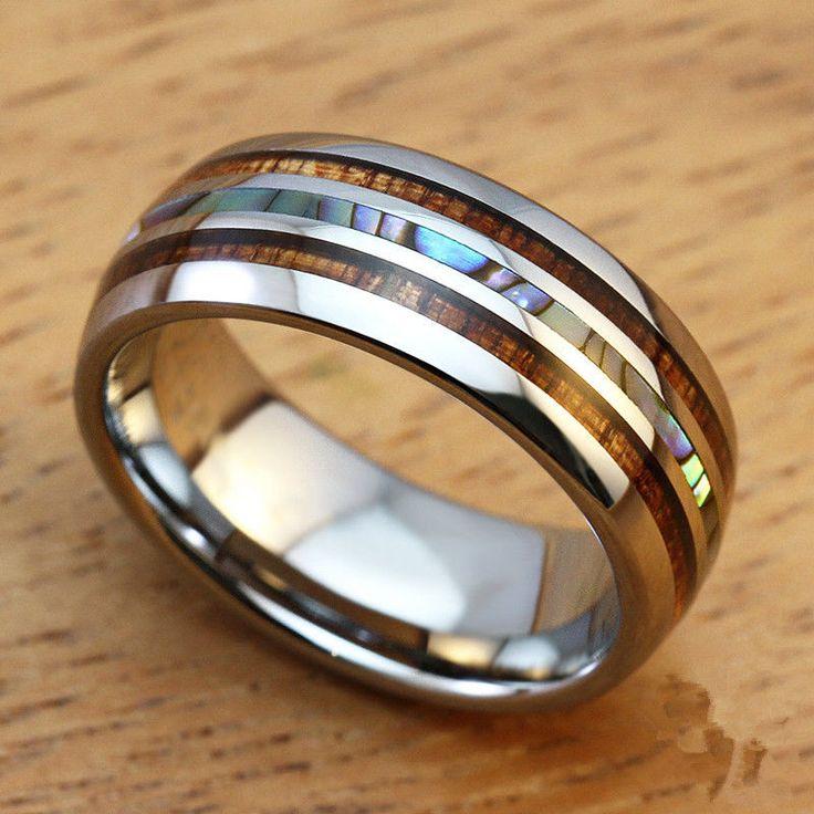 8mm Men's Wedding Bands Titanium Ring with Koa Ebony Gabon Wood&Shell Inlay