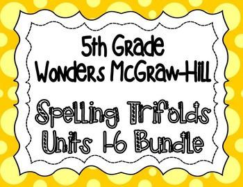 These spelling trifolds are based on the 5th grade Wonders McGraw-Hill reading series. This is a weekly trifold to send home with your students and provide practice with their spelling words. Each week's trifold is two pages, and I copy it front/back.