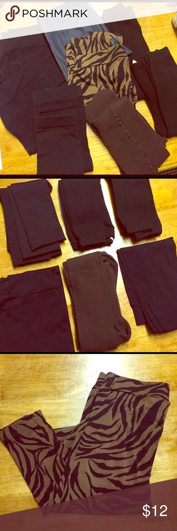 Leggings Bundle (7 pairs) -7 Pairs of Leggings- Great deal on this bundle! You get two pairs of black footless leggings with slight detail on them, one pair of brown footed leggings with detail, two pairs of black stretch footless plain leggings, one pair of black footless plain leggings that are thick for extra warmth or as an under garment for skiing, and one pair of stretchy jean like material leggings from French Connection...all are one size but mostly fit size small 👉 (TIGER PRINT…