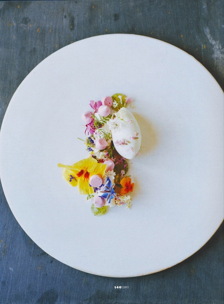 """Dessert of Flowers"" - elderflower mousse, rose hip meringue, violet syrup and skyr (Icelandic yogurt) sorbet."