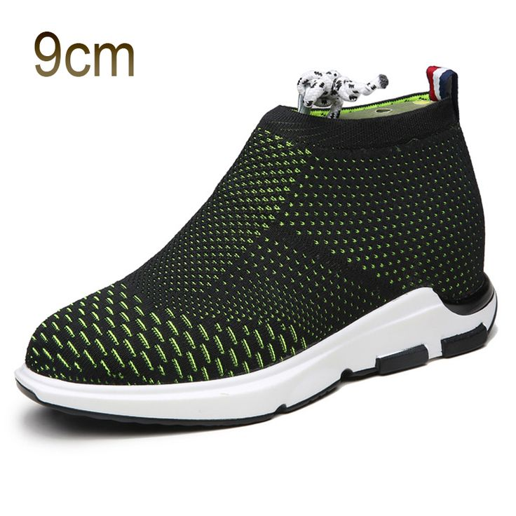 TopoutShoes - Black-Green Taller Flyknit Shoes for Men 3.5inch / 9cm Add Altitude Slip on Loafers