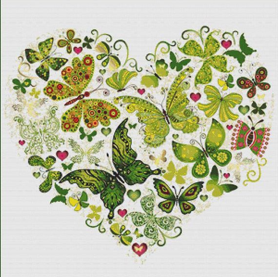 Green Butterfly Heart PDF Cross Stitch by XSquaredCrossStitch, $3.00