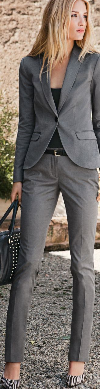 business casual - work outfit - gray suit + black top + black belt + gray, black or zebra print stilettos + black handbag... | Street Fashion