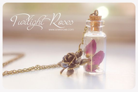 Dried Roses bottle Necklace. Flower necklace Glass by 13thPsyche