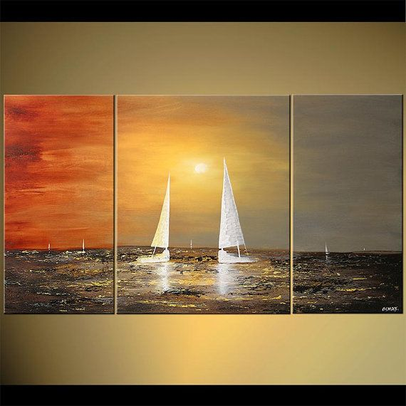 Sail boat Painting Original Abstract Acrylic Sea by OsnatFineArt