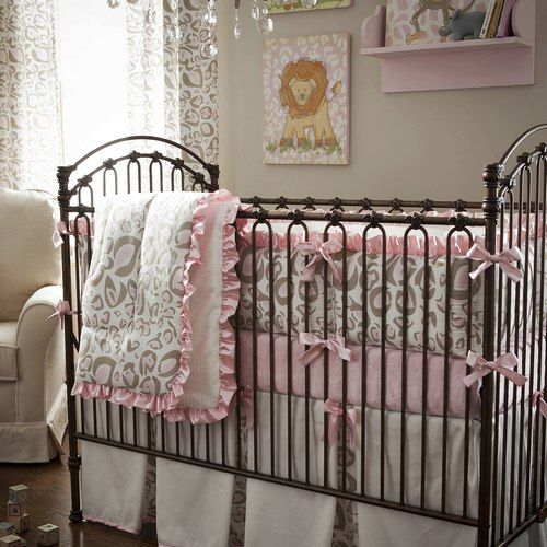 Wild & Wonderful! Pink & Taupe Leopard Nursery Bedding! Love the Iron Crib, Drapes, Chandelier & Picture on Shelf!