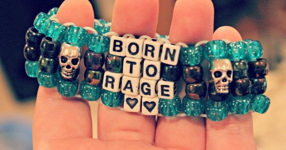 Born to Rage Kandi Cuff with Metal Skull Beads by KandiKweens