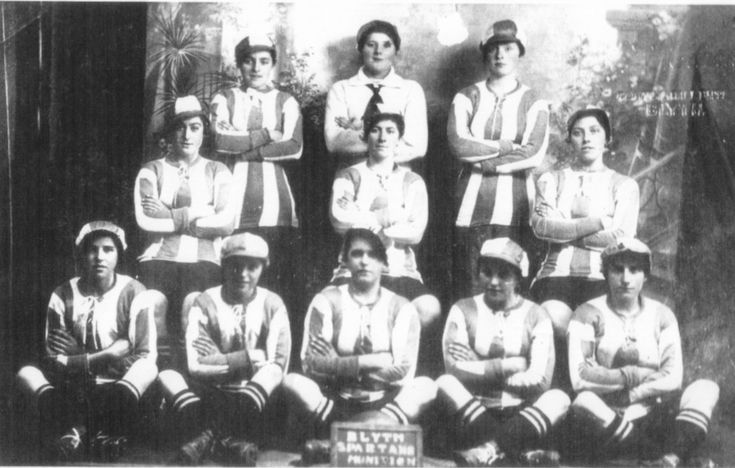 Blyth Spartans Ladies 1917-18, the first winners of the Munitionette's Cup, a league set up for the women's teams of factories, shipyards etc.