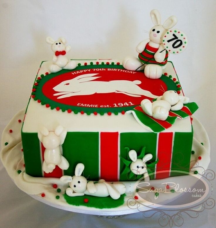 Inspired by the the Rabbitohs or Bunnies. All bunnies are handmade with gumpaste