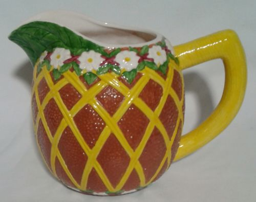 Tiki-Bar-Decor-Lei-Pitcher-Hand-Painted-Majolica-Seymour-Mann-Hawaiian-Rum-Party