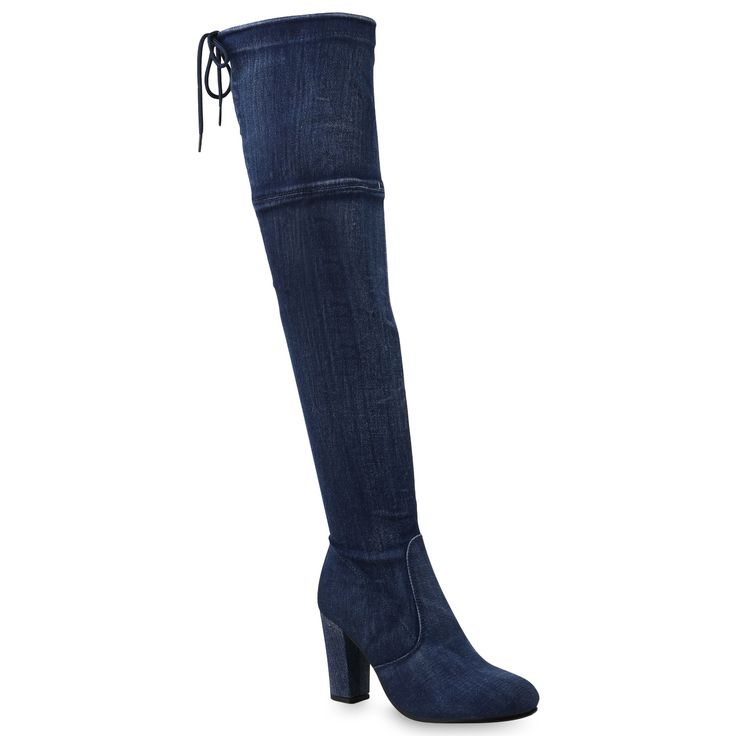 Damen Stiefel Overknees Blau