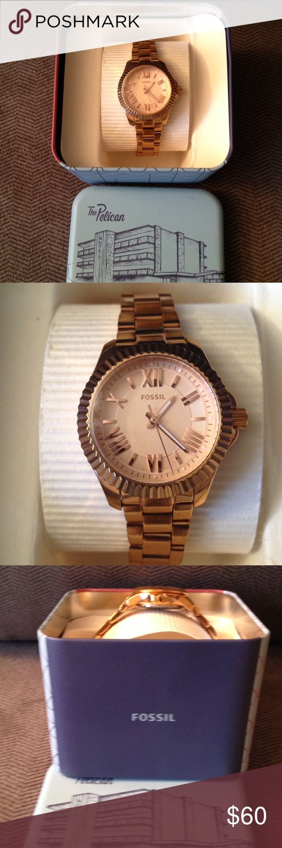 Ladies Fossil Rose Fold watch Beautiful ladies Fossil rose gold watch. Very stylish and sophisticated look. Great price for a watch that can be worn for any occasion. Fossil Jewelry