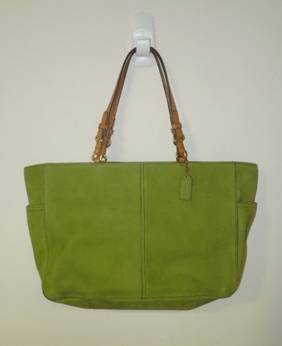 Details About Coach Green Kiwi Leather Nubuck Tote Diaper