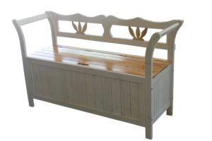 Solid Wood Storage Bench White