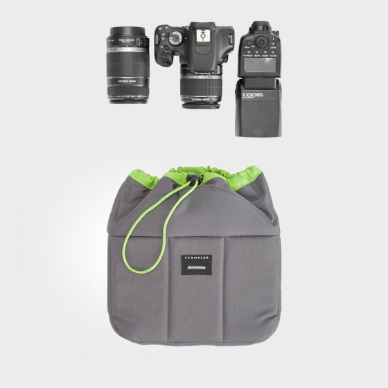 This transforms any purse into a camera bag (different sizes available).