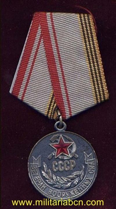 URSS. UNION SOVIETICA. MEDALLA VETERANO EN LAS FUERZAS ARMADAS DE LA URSS.