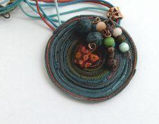 Denim necklace- colier argila polimerica-long boho chic neaclace