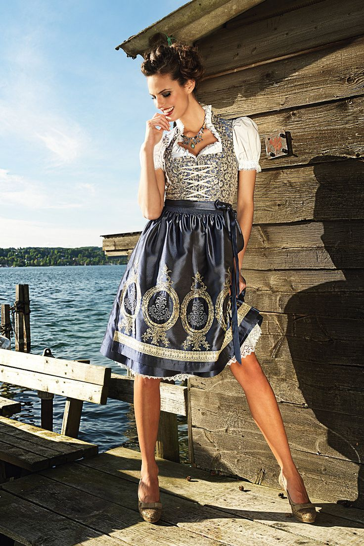 Dirndl buy Sara in blue / gold, including apron with costumes Angermaier online