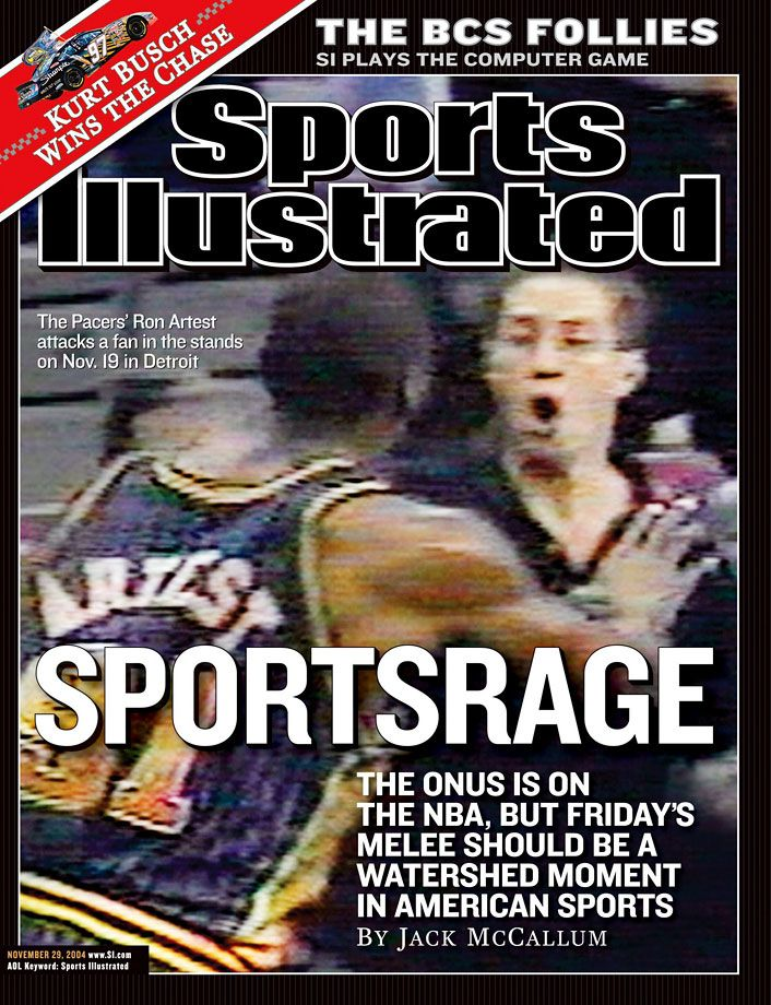 "On Nov. 19, 2004, during a Pacers-Pistons game at the Palace of Auburn Hills, the two teams participated in an infamous brawl, which started on the court but soon extended to fans in the stands.  Ron Artest (now Metta World Peace) was the focal point in what became known as the ""Malice at the Palace."" GALLERY: Remembering the Malice at the Palace"
