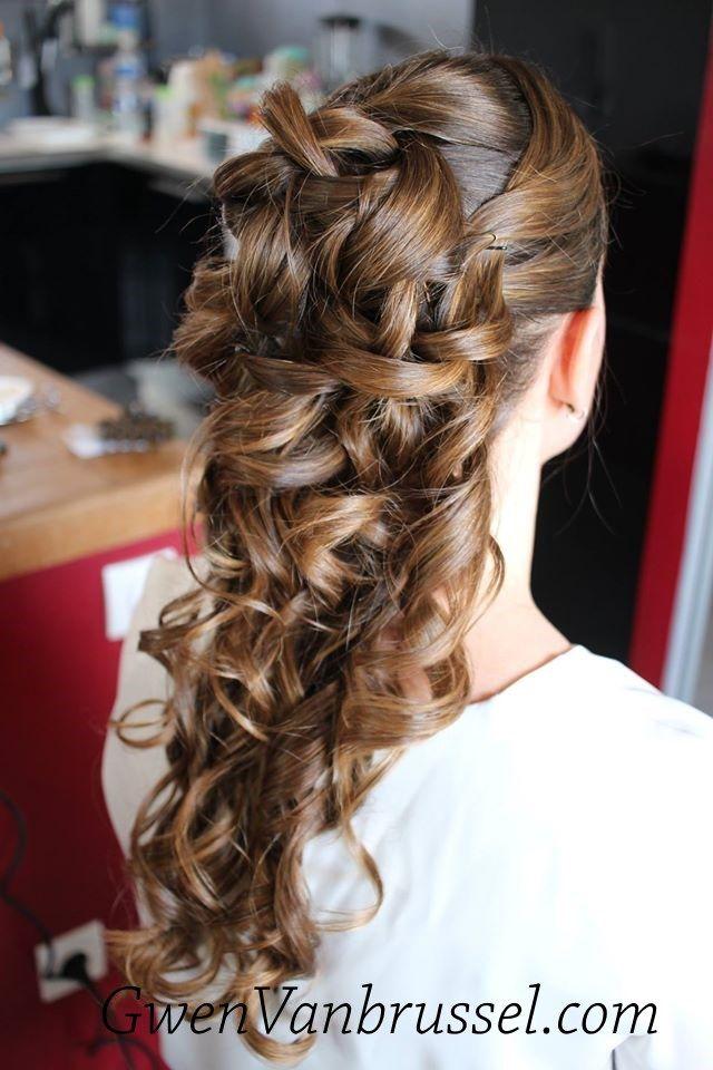 Coiffure de mariée demie-attache - Cascade de boucles - Cheveux longs - Réalisée par Gwen ...