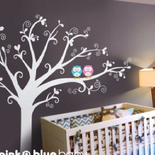 NEW DESIGN, Lovely tree with owls - Nursery Kids Removable Wall Vinyl Decal From etsy.com