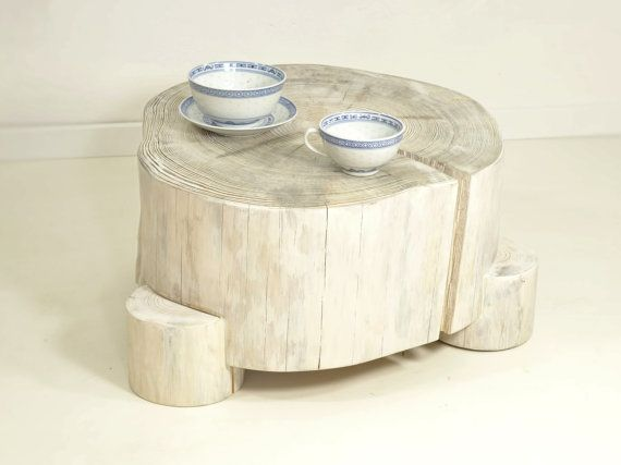 White Tree Stump Table on wooden legs stump side by FreeTreeStudio | see more at https://www.etsy.com/shop/FreeTreeShop