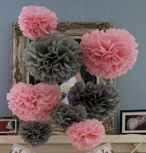 Superb 30 Tissue Pom Poms   Mad Hatter Tea Party Decorations   Your Color Choice.  Grey Baby ShowerChevron ...