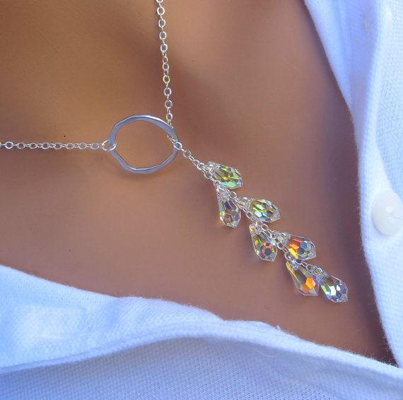 Crystal Lariat Necklace in STERLING SILVER. by RoyalGoldGifts
