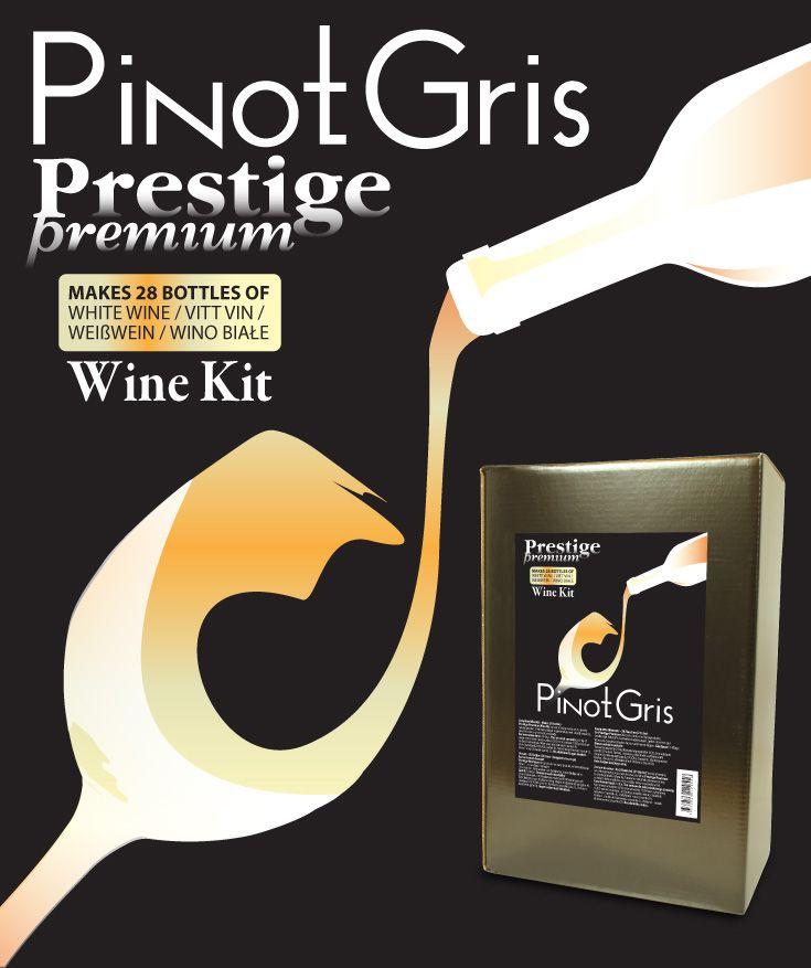 Prestige Premium 7KG Pinot Gris Greggio vinsats Premium kvalitet vinsats på sortrena druvor. 6,9 kg druvkoncentrat i praktisk 5L plastdunk. Komplett med ingredienser - endast vatten behöver tillsättas.