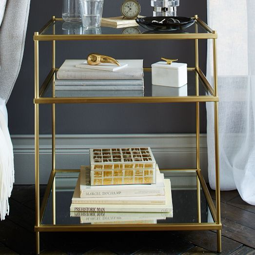 Brass and glass - Terrace Side Table/Nightstand - West Elm