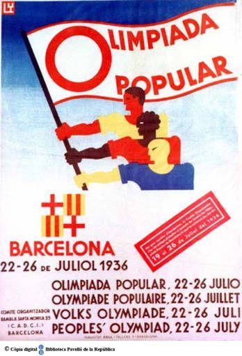 Olimpiada popular : Barcelona 22-26 de juliol = Olimpiada popular, 22-26 julio = Olympiade populaire, 22-26 juillet = Volks olympiade, 22-26 juli = peoples' olympiad, 22-26 july :: Cartells del Pavelló de la República (Universitat de Barcelona)
