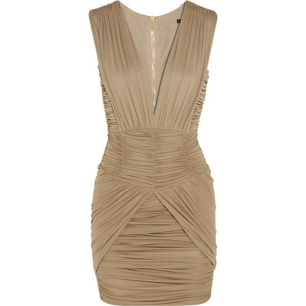 Balmain Ruched stretch-jersey mini dress (95.585 CZK) ❤ liked on Polyvore featuring dresses, brown, zip dress, form fitted dresses, brown dress, ruching dress and rouched dress