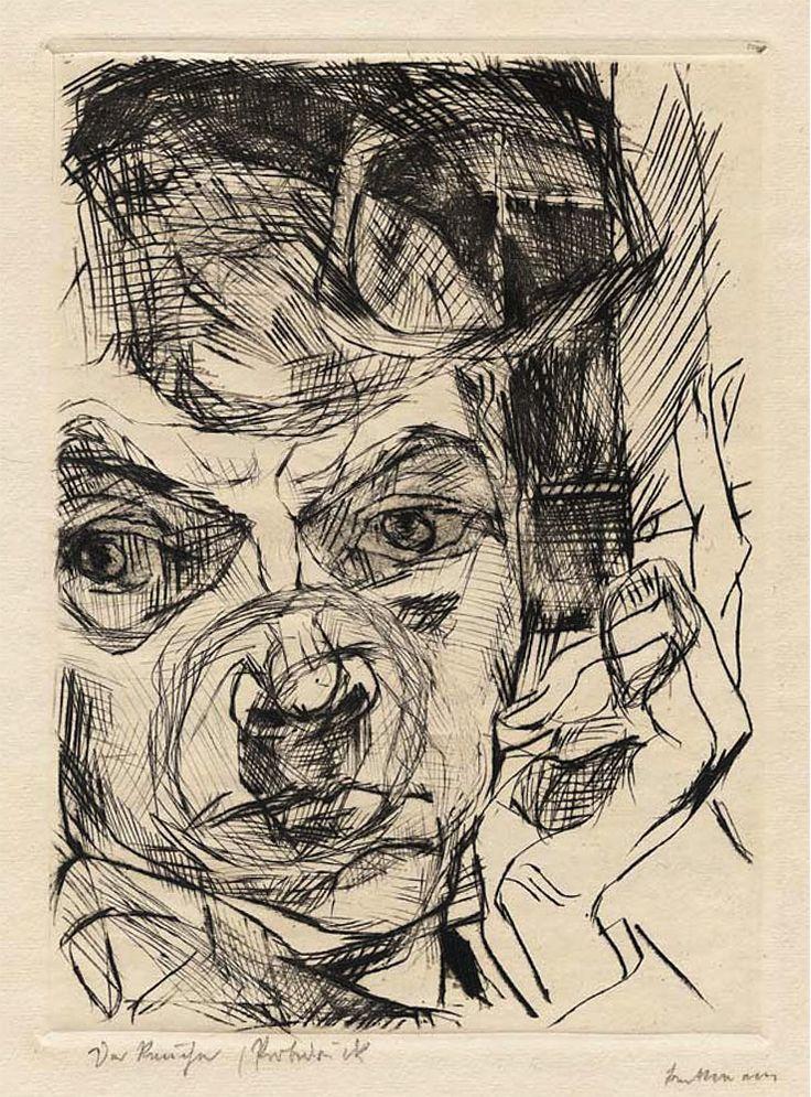 Max Beckmann: Self-Portrait (Der Raucher) 1916, drypoint