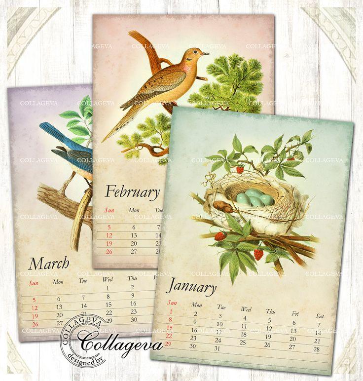 "Bird nest egg 2017 Printable Monthly Calendar, 5x7"" PDF & JPEG, 12 Month Calendar Download, Vintage images, Owl Bluebird Swallow (C017-17) by collageva on Etsy"