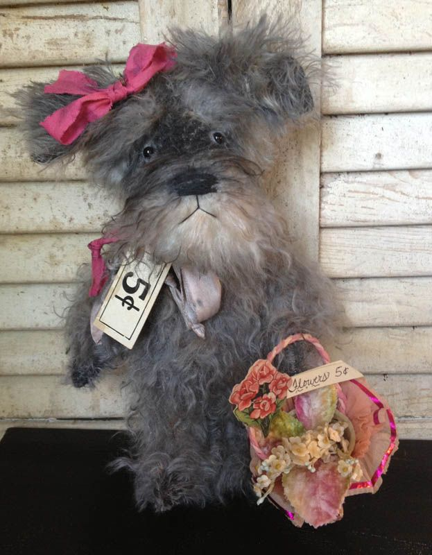 Featured in Winter 2014 issue of Prims magazine...Brady Bears Studio... Schnauzer dog. All hand tinted. One of a kind, www.BradyBears.com. Antique // Prim // mohair //
