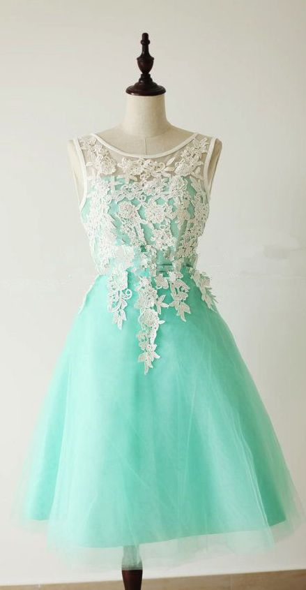 Turquoise Tulle Short Prom Dress
