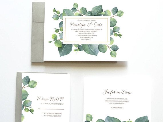Eucalyptus Wedding Invitation, Botanical Wedding Invitation, Green Wedding Invitation, Wedding Invitation Suite, Wedding Invitation Set  .....................................................................  Thank you for checking out this Printable Watercolor Wedding Invitation Suite from Oak House Designs!  Please note: This listing is for a digital files (PDF). You will receive printable high-resolution digital files, customized with your own wedding details. The files will be created in…