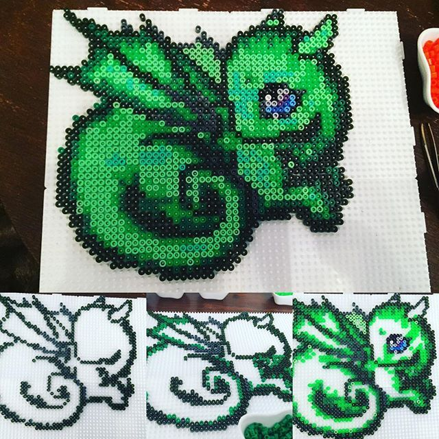 Little green dragon hama beads by Alice