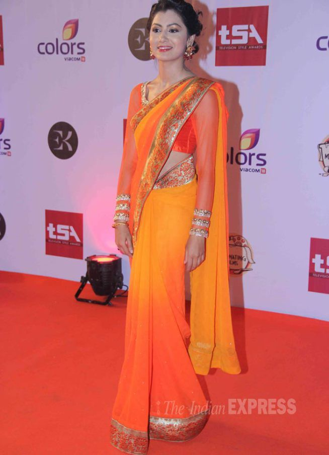 Sriti Jha was gorgeous in an orange sari at the Television Style Awards.