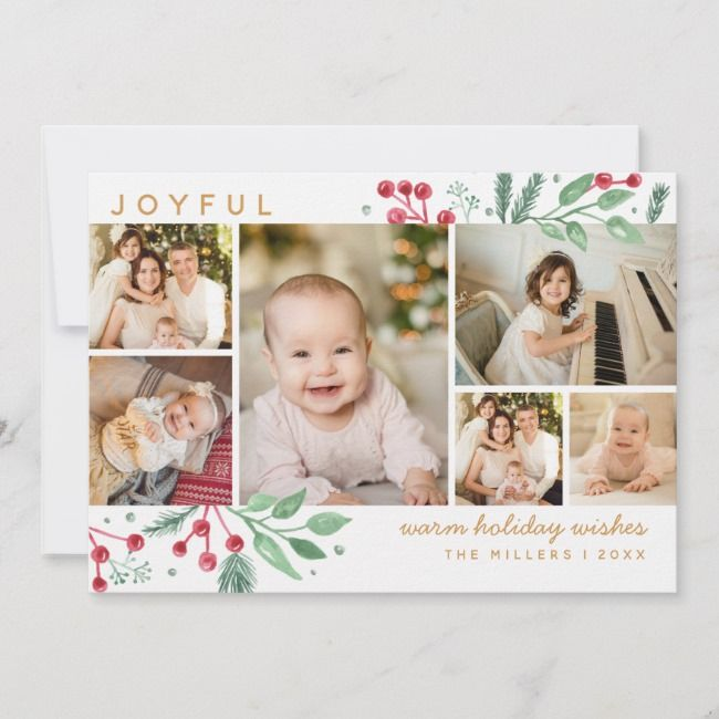 Winter Berries Greenery Christmas Multi Photo Zazzle Com In 2021 Christmas Card Templates Free Photo Card Template Christmas Card Template