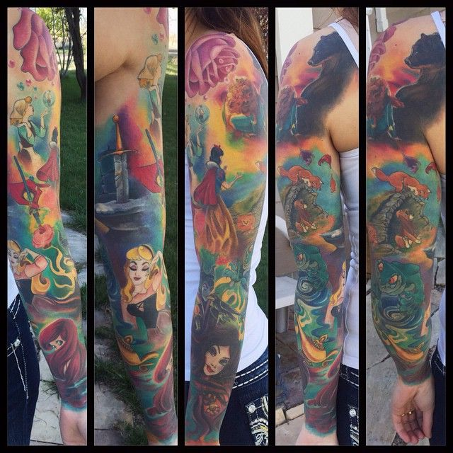 watercolor-ish Disney tattoo sleeve - ALL FINISHED!