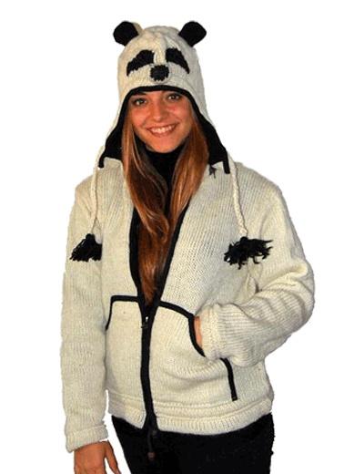 Comoda giacca panda per adulto con cappuccio
