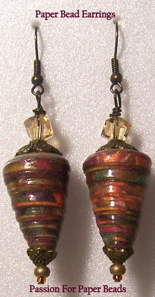 Handmade Paper Bead Earrings   by PassionForPaperBeads LOVE
