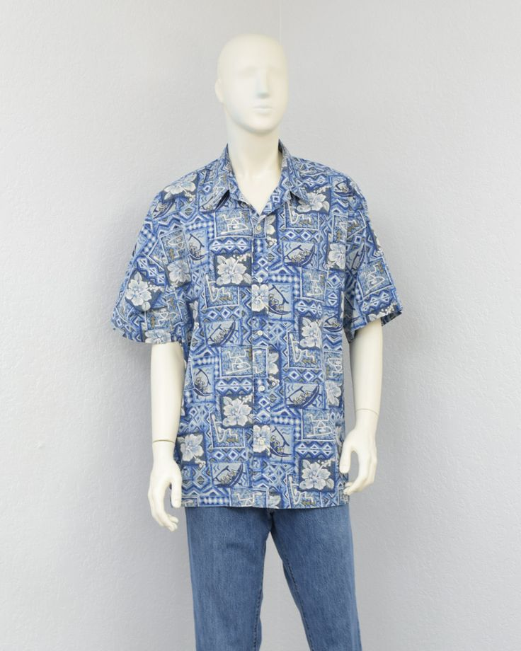 Vintage 70s Kai Nani Blue Hawaiian Shirt Floral Shirt Aloha Shirt Tribal Shirt Summer Resort Wear Size 2XL (35.00 USD) by SprightlyVogue