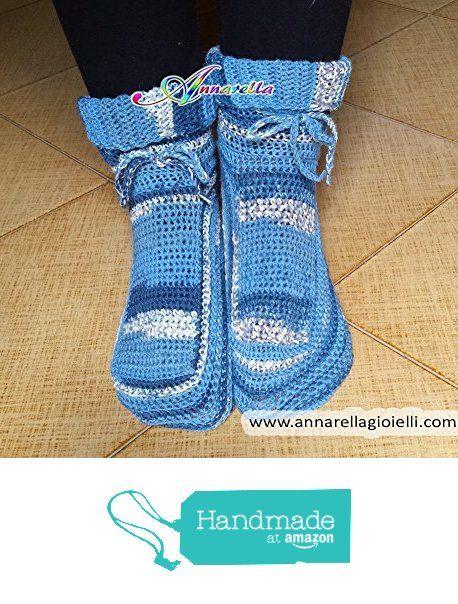 Scarpe da notte uncinetto, calze da notte, crochet, christmas, natale, lana, acrilico, socks, azzurro , blue, adulto, unisex, calde. da Annarella Gioielli https://www.amazon.it/dp/B01M0JR5Y7/ref=hnd_sw_r_pi_dp_WDO5xbBHQGH1S #handmadeatamazon